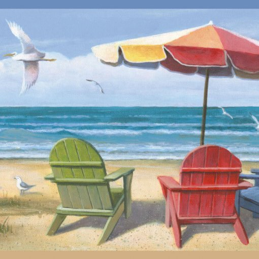 Faixa de parede border Praia com gaivotas