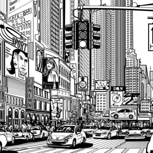 Painel adesivo Avenida na Cidade detalhe