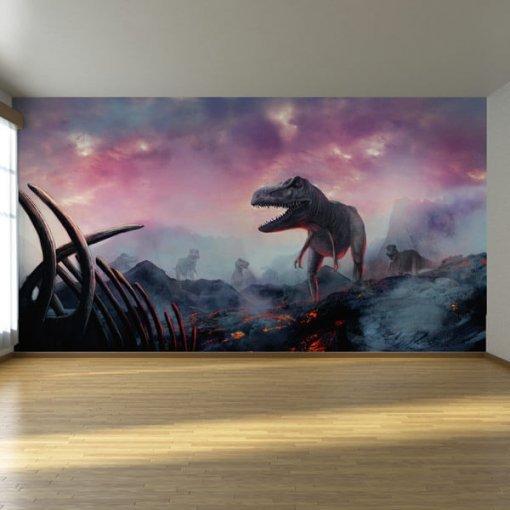 Painel adesivo Dinossauros e Vulcões