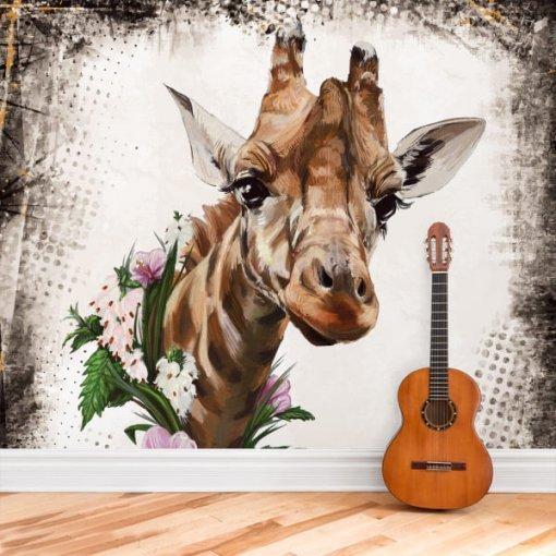 Painel adesivo mural Girafa com Flores